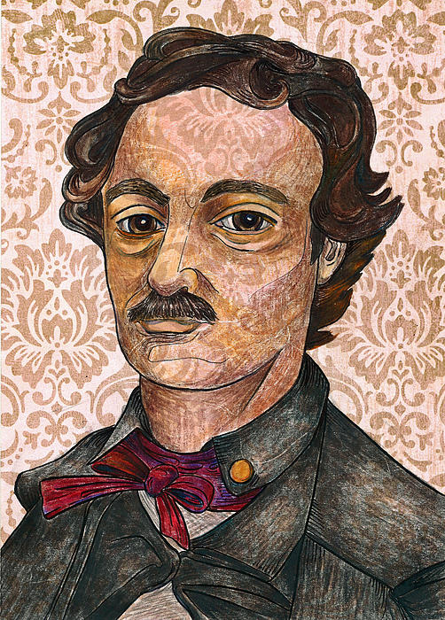 Edgar Allan Poe After The Thompson Daguerreotype Print by Nancy Mitchell