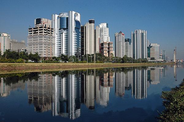 Edifícios Na Marginal Pinheiros (são Paulo) Print by Photo Antonio Larghi (Fotografia)