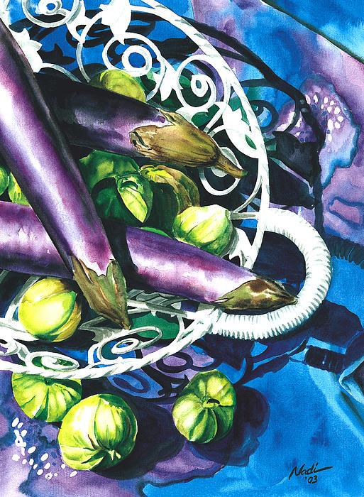 Eggplants Print by Nadi Spencer