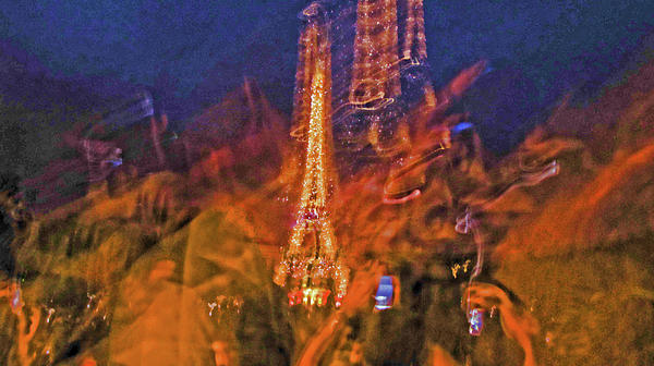Eiffel On Bastille Day Abstract Print by Tony Grider