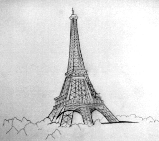 Eiffel Tower Pencil Sketch Eiffel Tower Drawing - Ankit