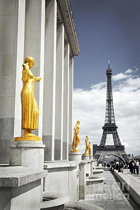 Eiffel Tower From Trocadero Print by Elena Elisseeva
