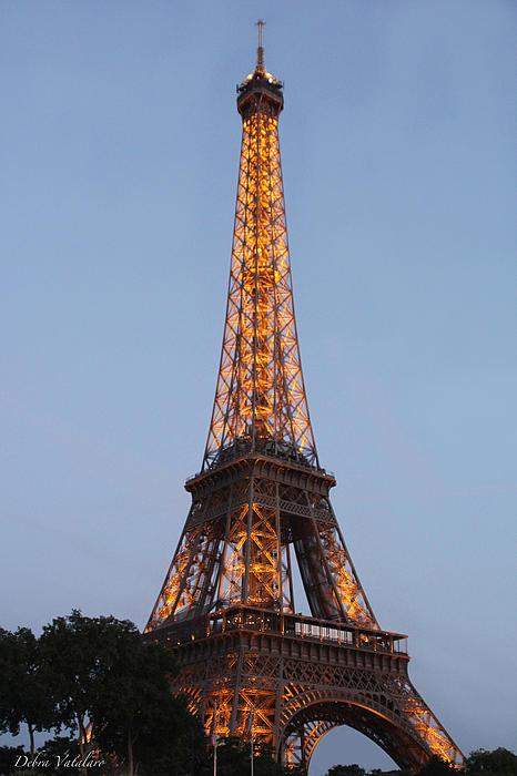 Eiffel Tower Lights Print by Debra     Vatalaro