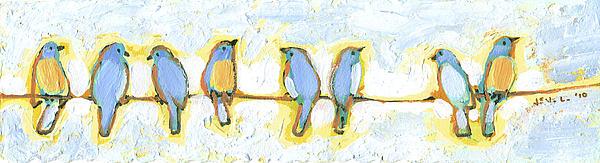 Eight Little Bluebirds Print by Jennifer Lommers