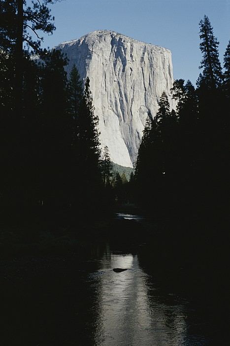 El Capitan Soars Above The Merced River Print by Marc Moritsch