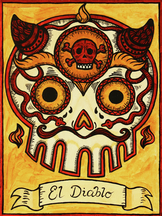 El Diablo Calavera Loteria Print by Maryann Luera