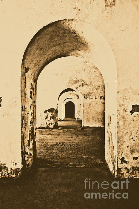 El Morro Fort Barracks Arched Doorways Vertical San Juan Puerto Rico Prints Rustic Print by Shawn O'Brien