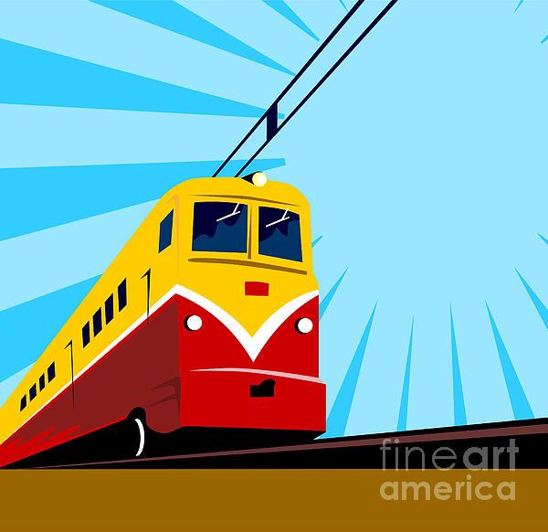 Electric Passenger Train Retro Print by Aloysius Patrimonio
