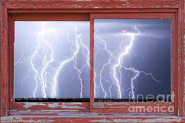 Electric Skies Red Barn Picture Window Frame Photo Art  Print by James BO  Insogna