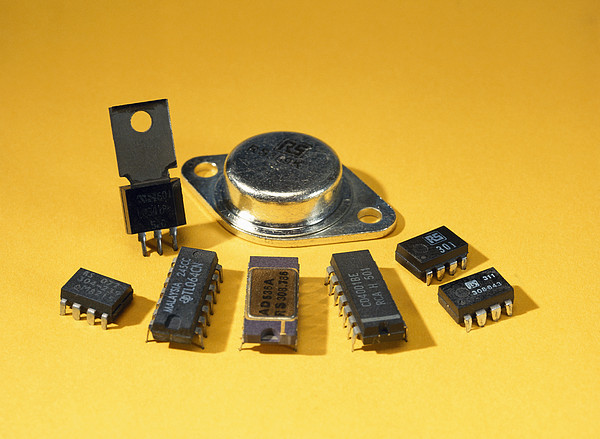 Electronic Circuit Board Components Print by Andrew Lambert Photography