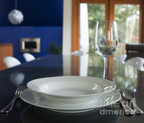 Elegant Place Setting In A Dining Room Print by Marlene Ford