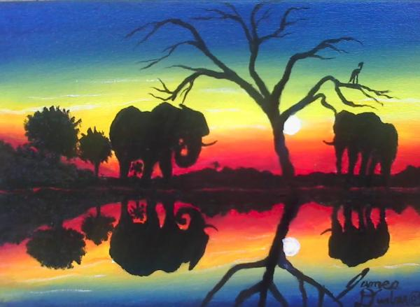 Colorful Elephant Paintings Colorful Elephant Paintings Elephant at The Water Hole