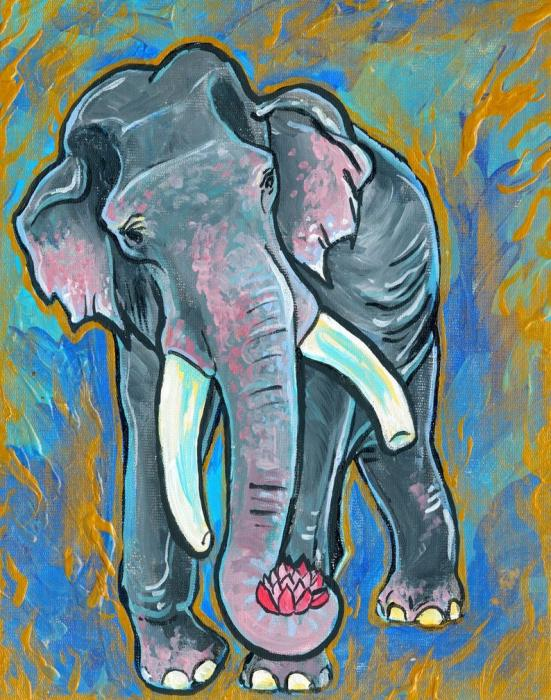 Elephant Spirit Dreams Print by Jenn Cunningham