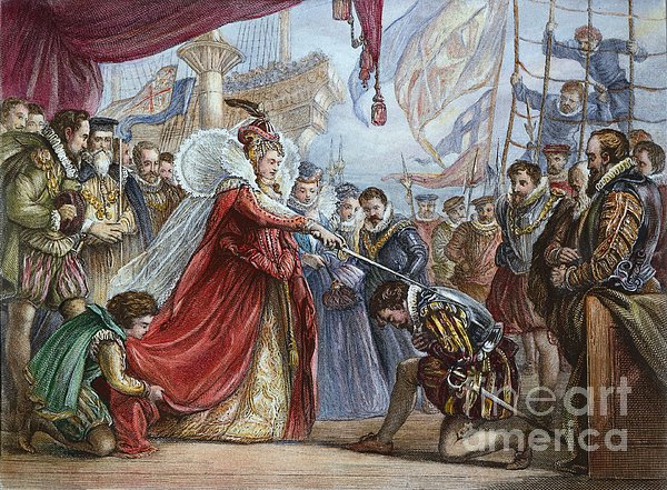 Elizabeth I/francis Drake Print by Granger