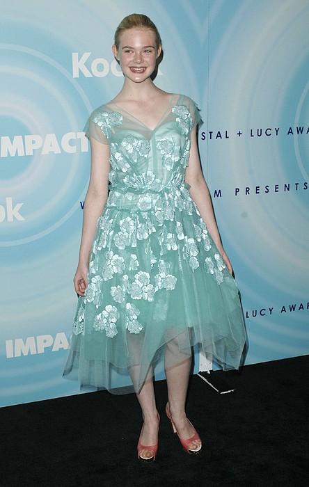 Elle Fanning Wearing A Dress By Marc Print by Everett