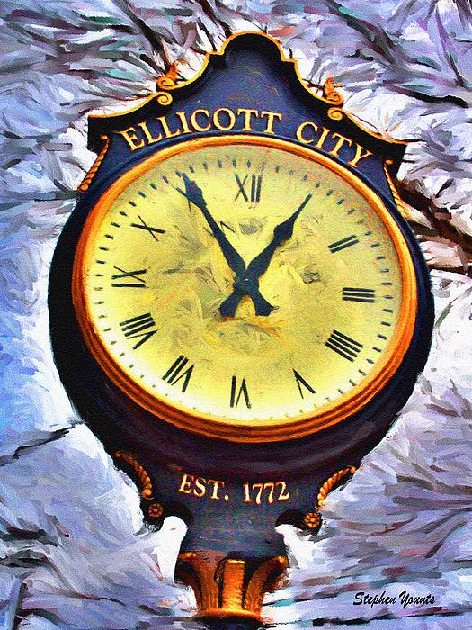 Ellicott City Clock Print by Stephen Younts