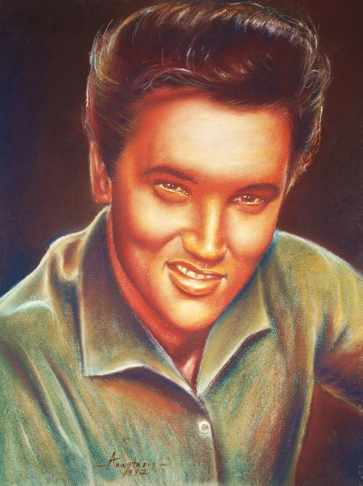 Elvis In Color Print by Anastasis  Anastasi