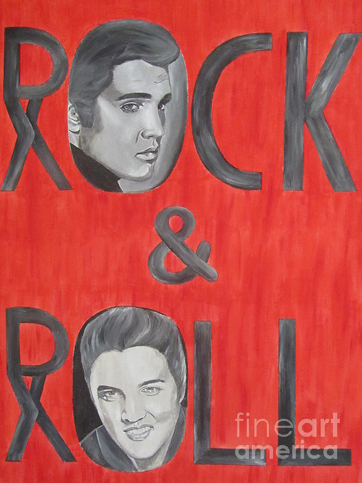 Elvis Presley King Of Rock And Roll Painting