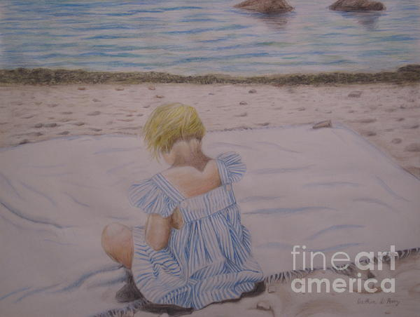 Emma On The Beach Print by Heather Perez