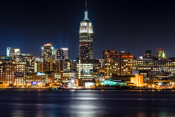 Empire State Building From Hoboken Print by Val Black Russian Tourchin
