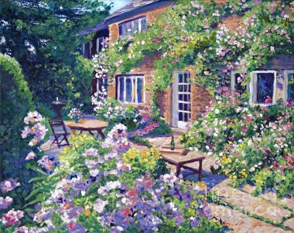 English Courtyard Print by David Lloyd Glover