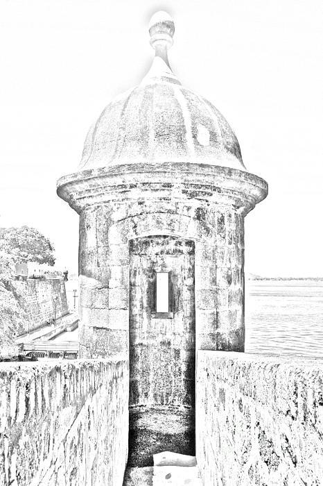 Entrance To Sentry Tower Castillo San Felipe Del Morro Fortress San Juan Puerto Rico Bw Line Art Print by Shawn OBrien