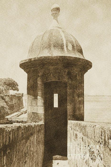 Entrance To Sentry Tower Castillo San Felipe Del Morro Fortress San Juan Puerto Rico Vintage Print by Shawn OBrien