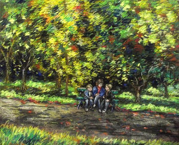 Eoin Miraim And Cian In Botanic Gardens Print by John  Nolan