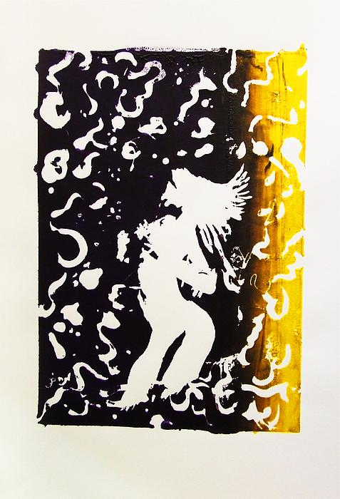 Erotic Scapegoat From Azazel Hell Satan Devil In Purple And Yellow Serigraph Swirls Holding Breasts Print by M Zimmerman