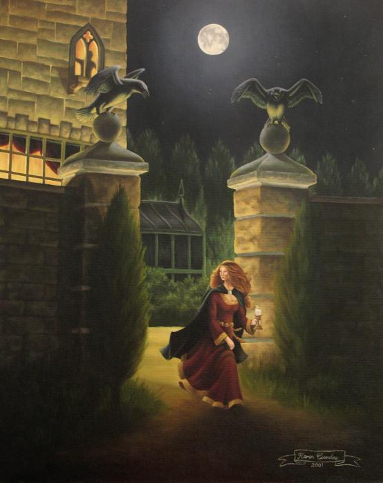 Escape From Raven Manor Print by Karen Coombes