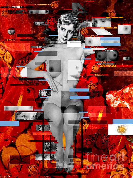 Eva Peron Nude En Rouge Print by Karine Percheron-Daniels