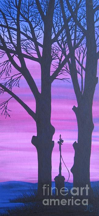 Evening At The Cross I. Painting  - Evening At The Cross I. Fine Art Print