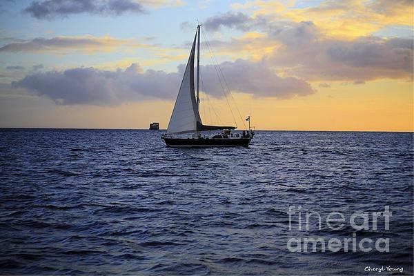 Evening Sail Print by Cheryl Young