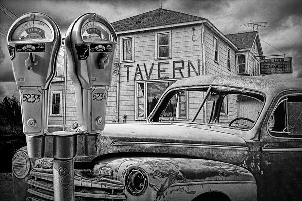 Randall Nyhof - Expired a Black and White Photograph of a Tavern Parking Meters and Vintage Junk Auto