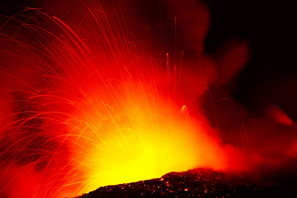 Exploding Lava At Night Print by Peter French - Printscapes