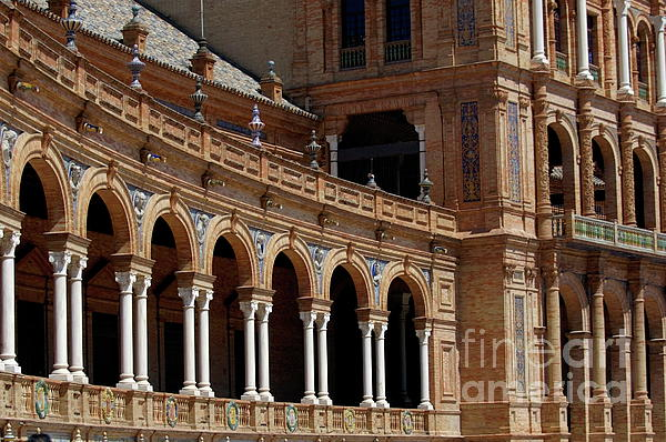 Exterior View Of The Plaza De Espana In Seville Print by Sami Sarkis