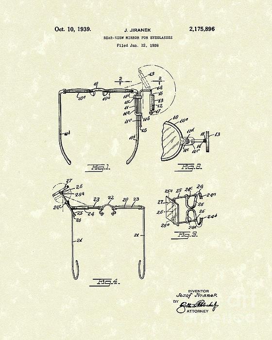 Eyeglass Mirror 1939 Patent Art Print by Prior Art Design