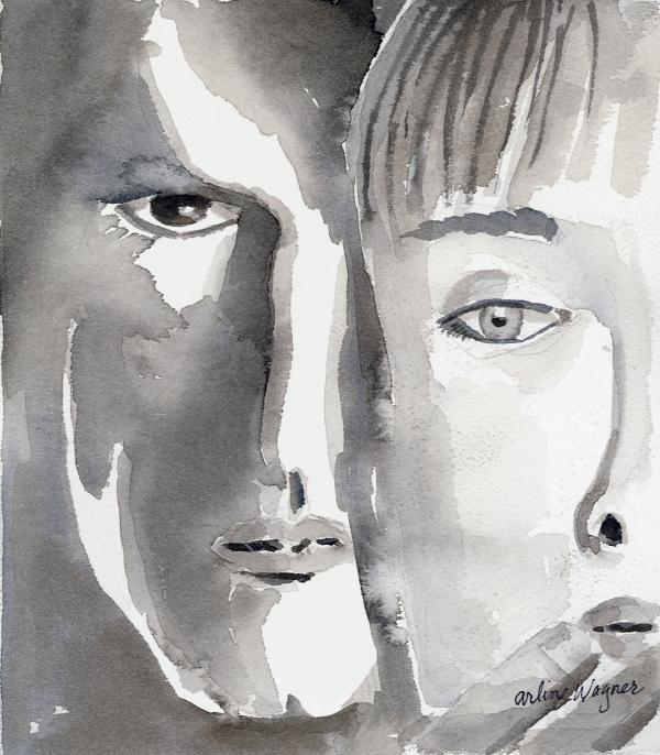 Faces Print by Arline Wagner