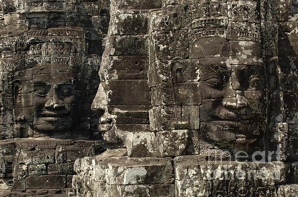 Faces Of Banyon Angkor Wat Cambodia Print by Bob Christopher