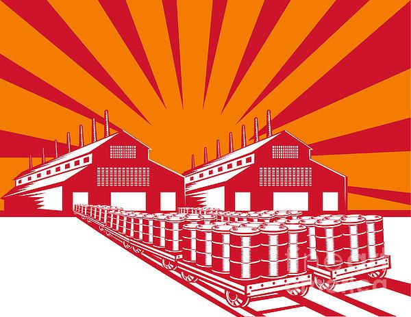 Factory Building Oil Drum Barrel Retro Print by Aloysius Patrimonio