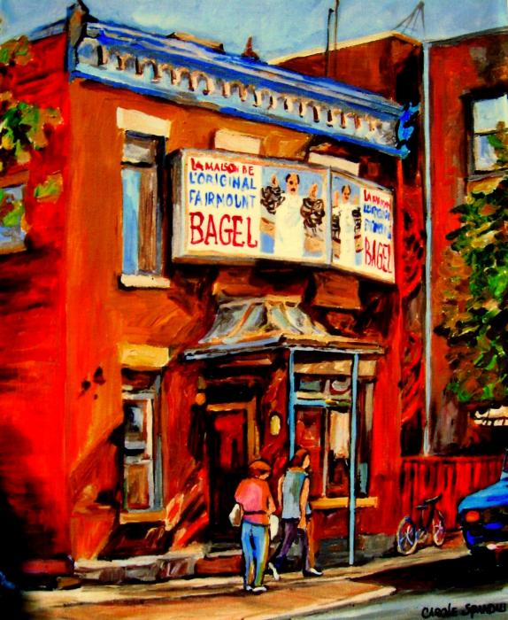 Fairmount Bagel Montreal Painting  - Fairmount Bagel Montreal Fine Art Print