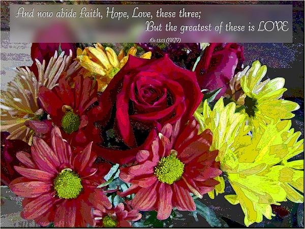 Faith Hope Love II Print by Debbie Portwood