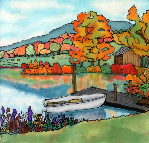 Fall Boat And Dock Print by Linda Marcille