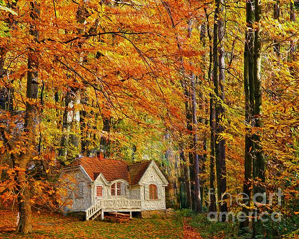 Fall Cottage Print by Cheryl Young