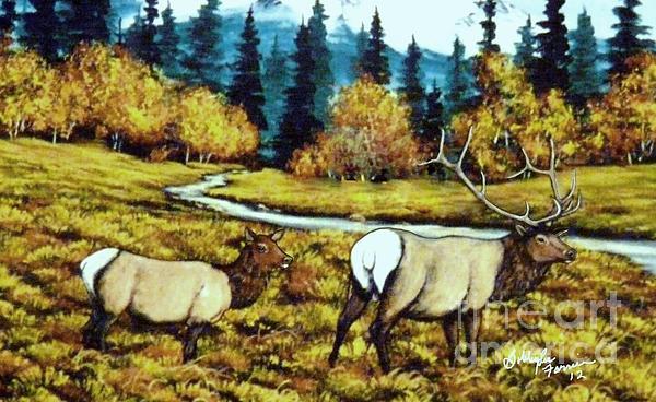 Fall Elk Print by Bobbylee Farrier