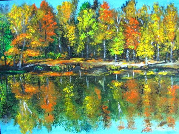 Natalja Picugina - Fall landscape acrylic painting framed