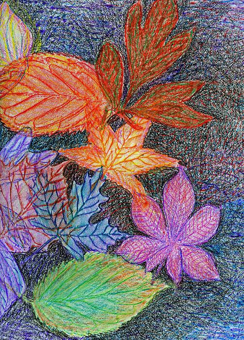 Fall Leave Collage Drawing  - Fall Leave Collage Fine Art Print