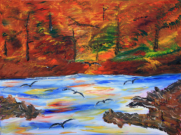 Fall On The Bow River Print by James Bryron Love