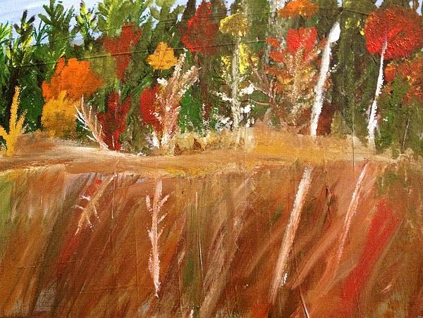 Fall Reflection On Lake Print by Paula Brown