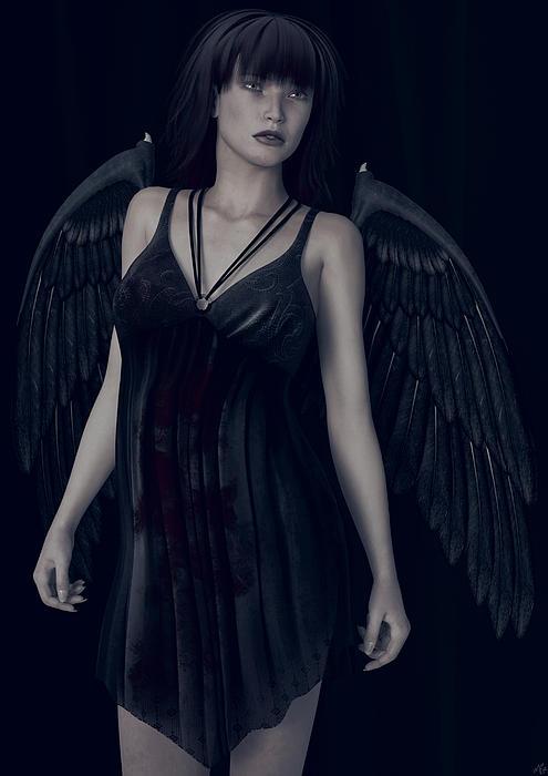 Fallen Angel - Dark And Gothic Print by Maynard Ellis